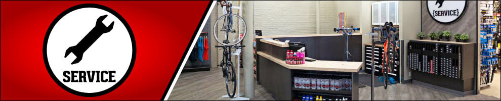 Bike Service Department at ERIK'S with overlay of wrench  icon