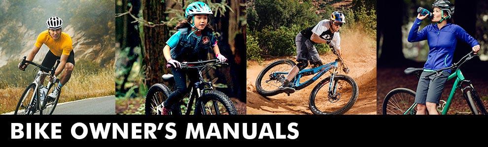 man road biking, kid biking, man mountain biking, & woman leaning on bike drinking water with words Bike Owner's Manual beneath