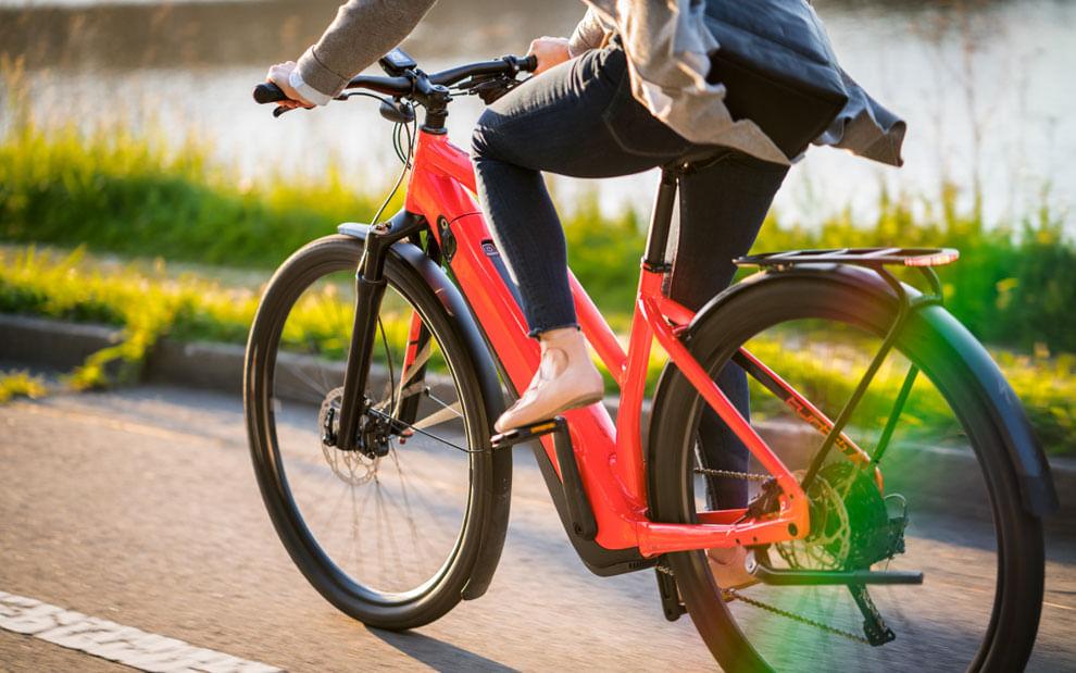 closeup of person riding an electric bike