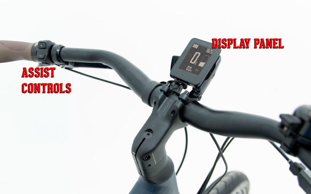 eBike handlebar closeup showing controller and display