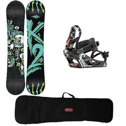 K2 Boys 137-148Wcm Vandal Snowboard and Binding Package with Bag