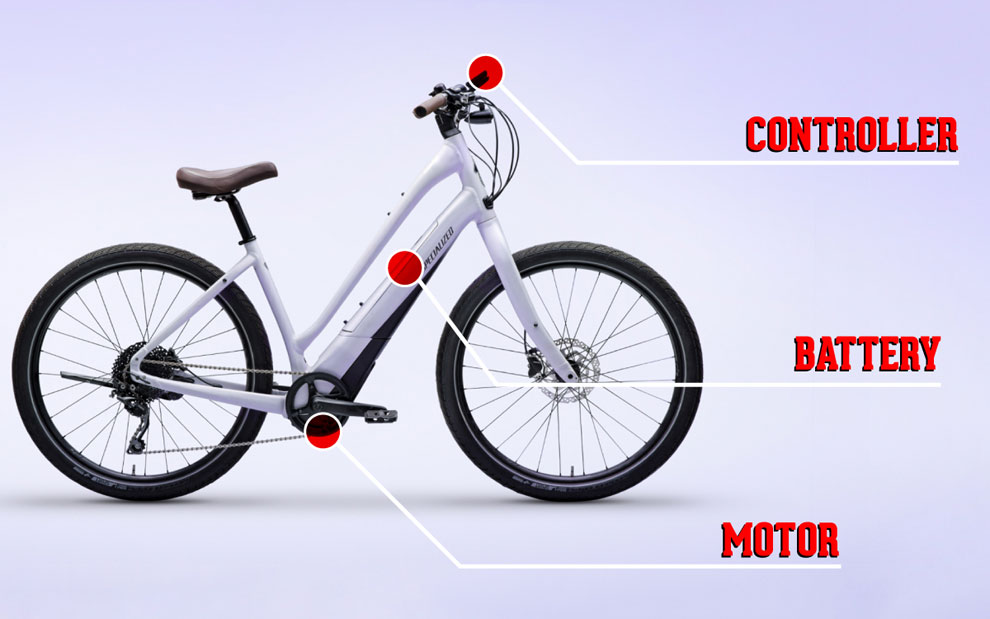 electric bike with controller, motor, battery