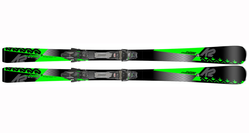 pair of K2 black and neon green downhill Skis