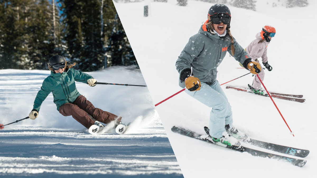 Women downhill skiing and smiling