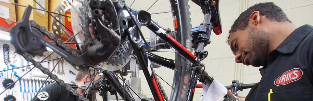 ERIK'S Mechanic Working on Bicycle Maintenence